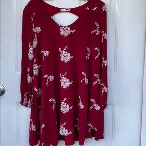 ALTARD STATE MINI FLORAL RED DRESS LARGE
